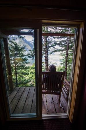Kenai Fjords Glacier Lodge: Peekaboo view from the cabin