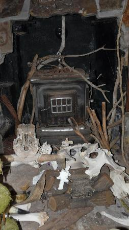 The Cave House: Fireplace and nice collection of bones