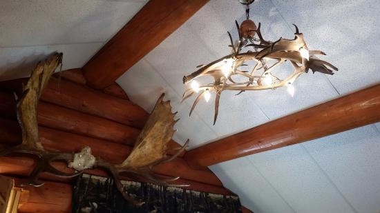 Willow Lake B&B: Cool features... like antler chandeliers.