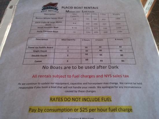Placid Boat Rentals: boating menu