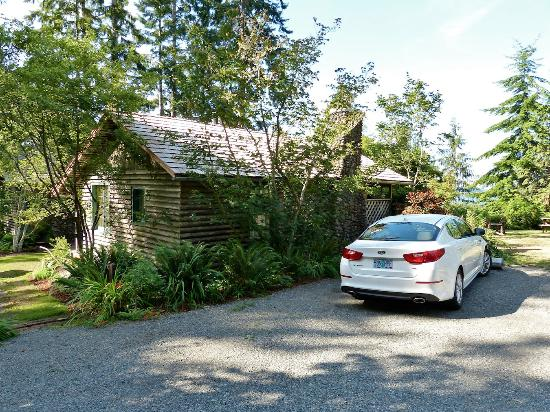 Lochaerie Resort: Back of cabin Elinor and parking space.