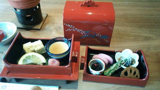 Funagoya Onsen Hotel Higuchiken: 朝食は可愛らしい設えで。
