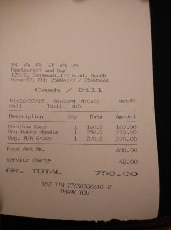 Sarjaa Restaurant & Bar : Receipt showing service charge