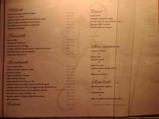 Antica Trattoria Suban: Il menù