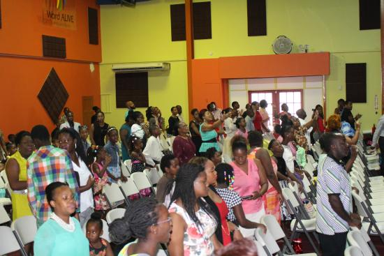 Warrens, Barbados: A portion of the congregation enjoying the worship