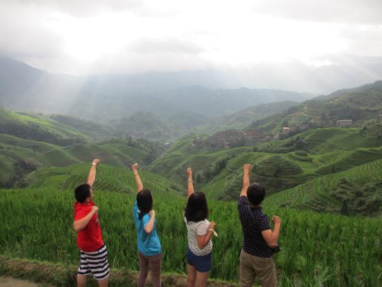 Longsheng County, China: Morning in Dazhai, in front of Guanjinglou