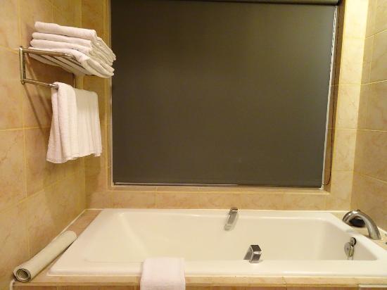 Badkamer met rolgordijn voor venster picture of silks place
