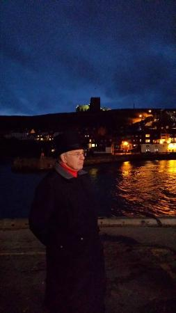 Whitby Walks: Guide Harry on the harbour side stop of the tour