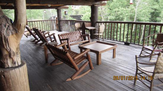 The Baldpate Inn: The deck outside the entrance