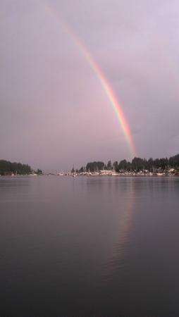 Rainbow seen from the Waterfront Inn