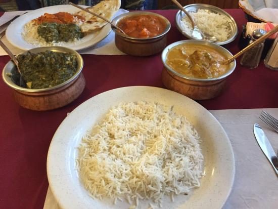 India Palace: Basmati Rice, Lamb Rogan Josh, Chicken Tikka Masala, and Naan Bread. GET YOU SOME OF THAT!!!