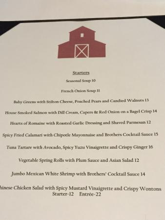 Menu Picture Of Brothers Restaurant At The Red Barn Santa Ynez