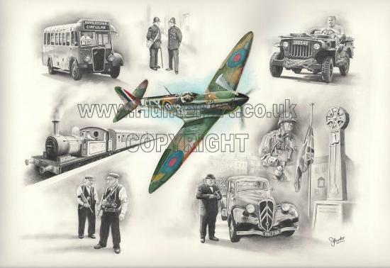 Grinton, UK: HunterArt example of work - Leyburn 1940s weekend