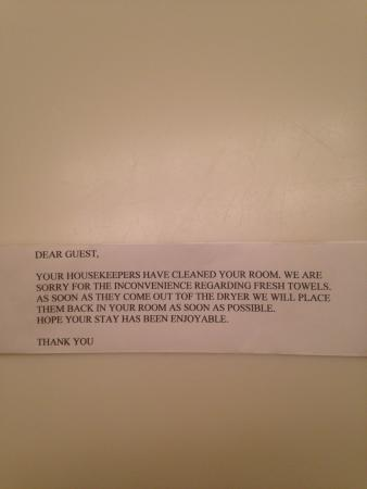 Hampton House Hotel: The note they leave when out of towels!