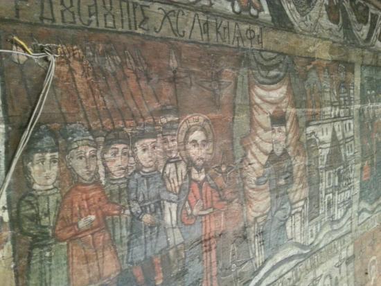 Maramures County, Rumania: Dettagli delle decorazioni della chiesetta