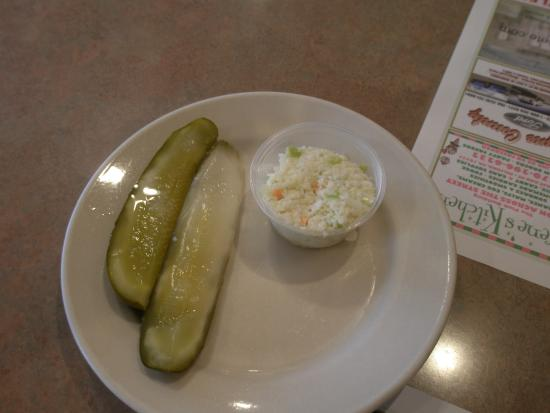 Milford Diner & Restaurant: Pickles and coleslaw