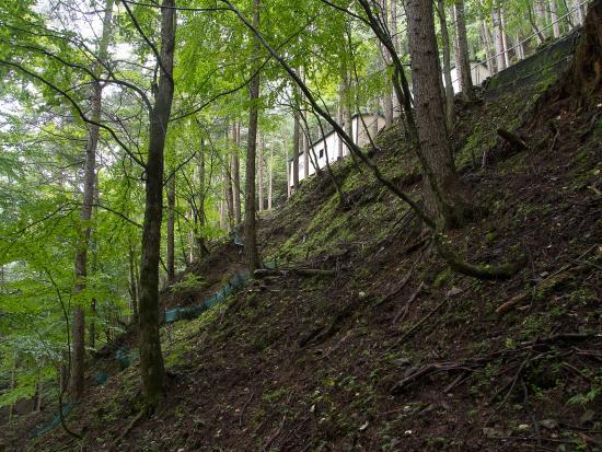 Shokon no Hi Monument: 尾根近くの斜面に設置された遺族用の休憩所。簡易便所がある。