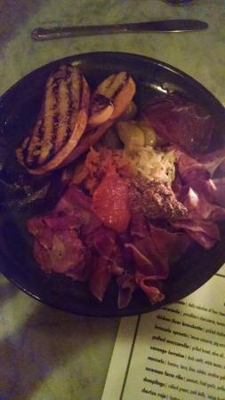 Alchemy : Plate of mixed house-cured charcuterie with mustards, house-made pickles