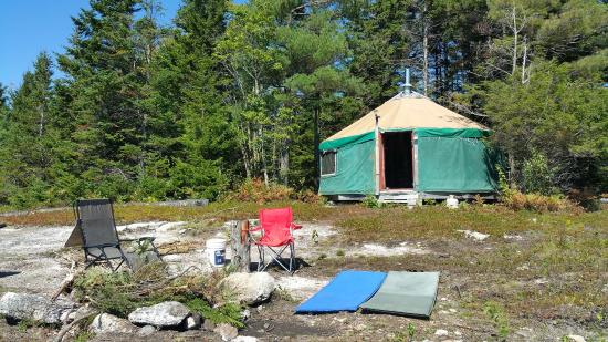 Orland, ME : View of the yurt from the cliff edge