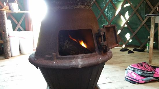 Orland, ME : Lighting a fire