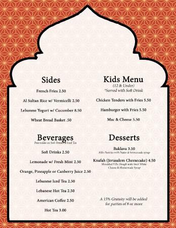 Kids menu desserts sides and non alcoholic bevs for Al tannour mediterranean cuisine menu