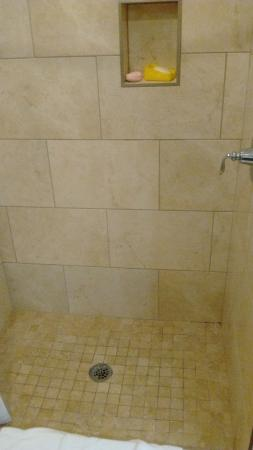 Country Inn & Suites By Carlson, Little Falls: shower (not dirty, colored tile)
