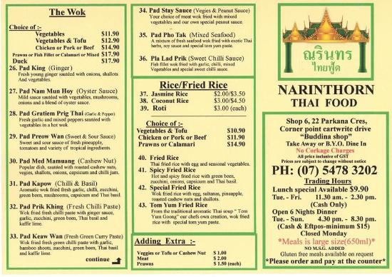 Sunshine Thai Food Menu