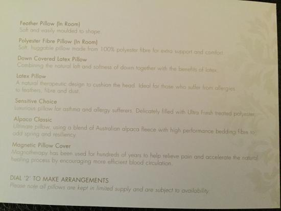 sofitel sydney pillow menu-#1