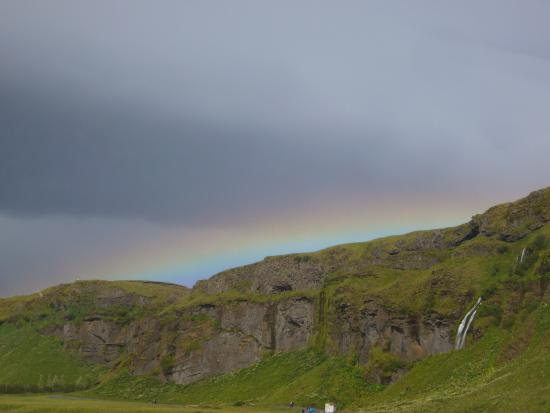 Vogar, Island: rainbow near the falls