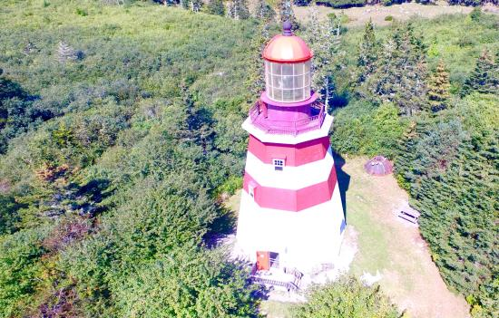 Barrington, Kanada: Seal Island Lighthouse Museum (drone photo)