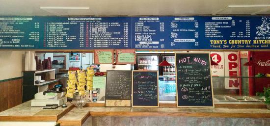 Tony S Country Kitchen Main Order Counter Menu