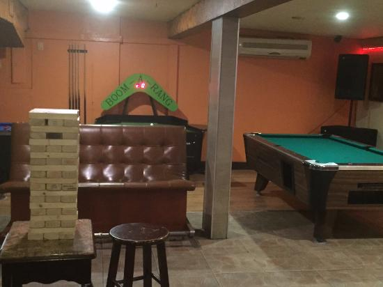 Prive Pool Hall Bar Giant Jenga Next To Tables And Air Hockey