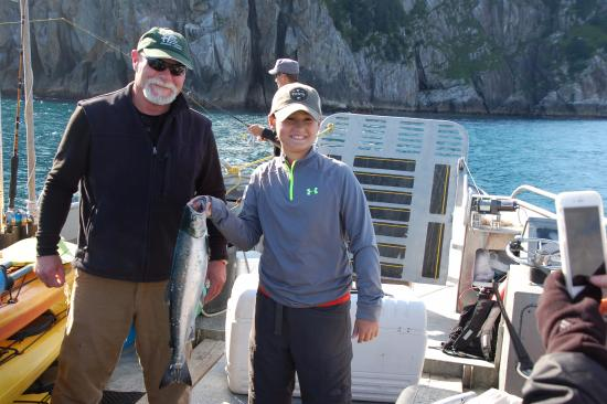 Allens Alaska Adventures: A nice Silver Salmon, with some help from Joe!