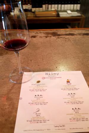Tasting menu at the bar at Hilmy Cellars