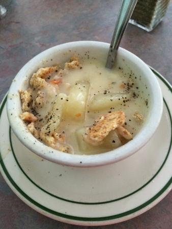 Bushnell, IL: Potato soup (pepper and crackers added) and the homemade pork tenderloin sandwich: