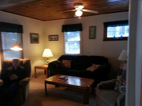 Saint Germain, WI: The living room in poplar cottage