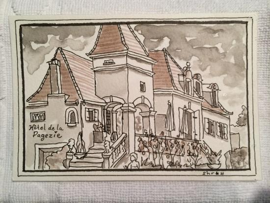 Drawing done by Sue Shroy of Hotel de la Pagezie