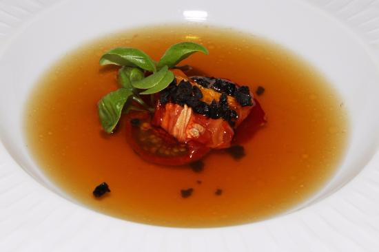 ... , basil cress, consommé made with tomato, basil and Iberico ham leg