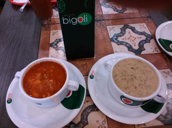 Bigoli - Trinoma: Minestrone soup and Creamy Mushroom soup