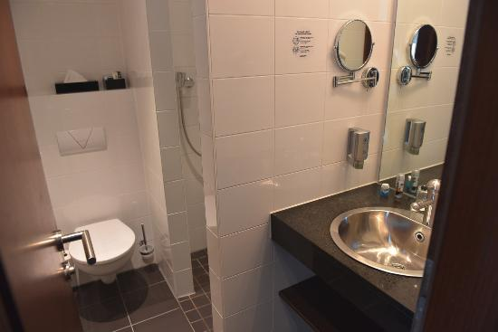THe bathroom is a typical, very small European hotel - Picture of ...