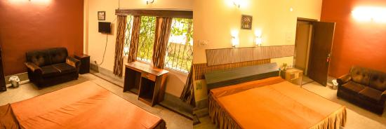 Riverview Guest House: Wide angle view of Riverview Deluxe A/C room with garden outside