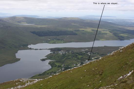 Errigal Hostel: View of Hostel from Mountain Errigal
