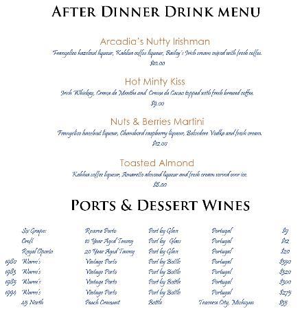 Arcadia, MI: After Dinner Drink Menu