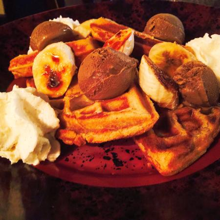 Fat Elvis Waffle. Peanut butter waffle, sassy cow chocolate ice cream ...