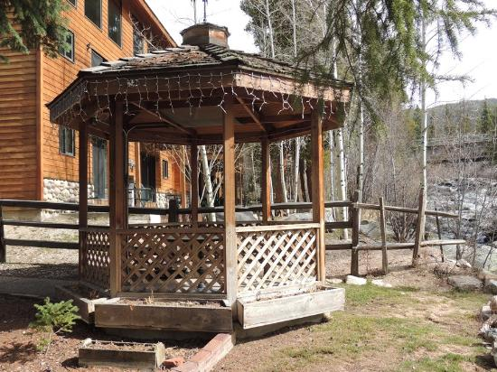 The gazebo behind the Rapids Lodge main building