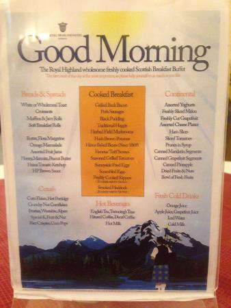 Breakfast buffet menu picture of royal highland hotel - Hilton garden inn breakfast menu ...