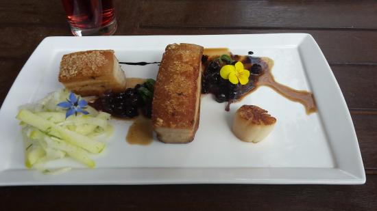 98 Chairs: Pork Belly, Scallop, Currant sauce with Fennel and Apple Slaw