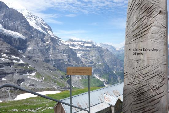 Grindelwald, Schweiz: アイガーグレッチャーの駅より。クライネシャイデックまで無心で歩かないと35分はムリです。