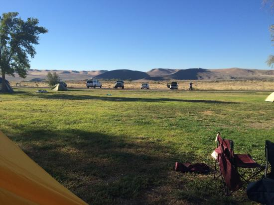 Bruneau, ID: View from Wagon Wheel campground to dunes and observatory.