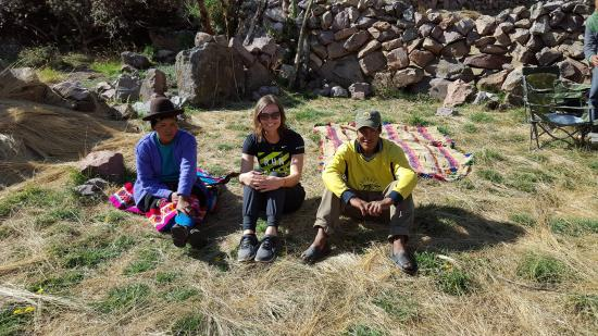 Llama Pack - Day Tours: Resting in Cancha Cancha with Patricio and Angelica